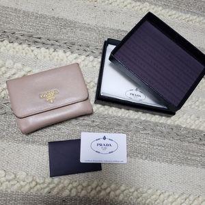 PRADA Saffiano Leather Kisslock Wallet